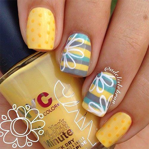 Ногти желтые дизайн