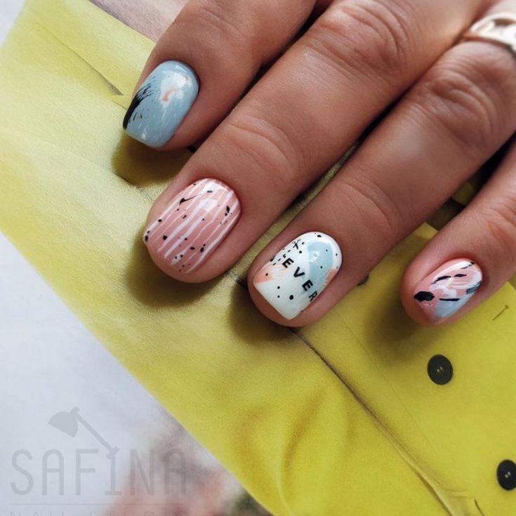 Дизайн ногтей пастельные тона на короткие ногти