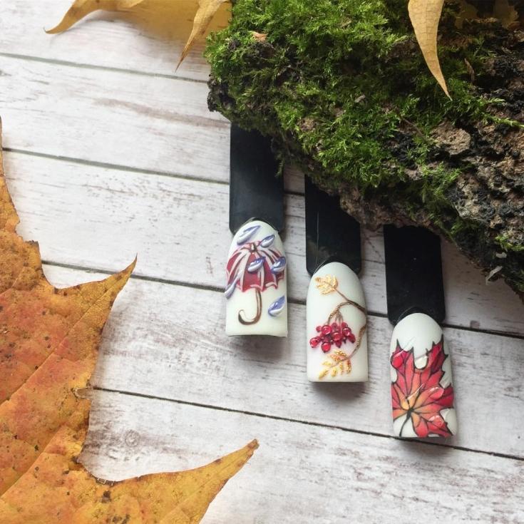2021 Идеи осеннего маникюра с рисунком падающих листьев
