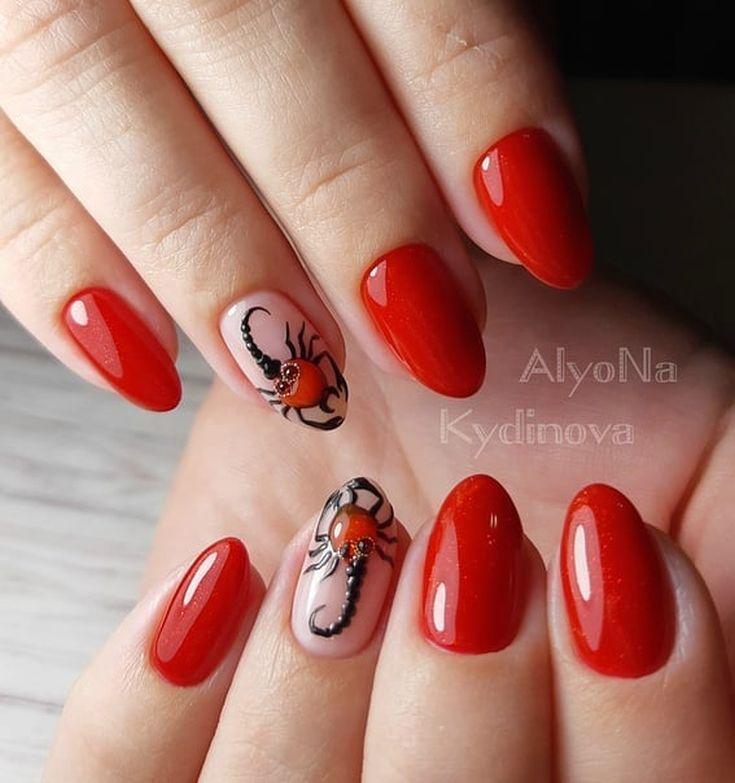 2021 Маникюр со скорпионами на ногтях
