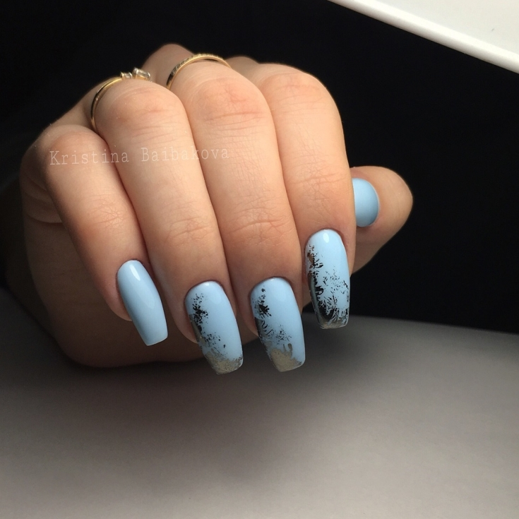2021 Голубой маникюр на длинные ногти