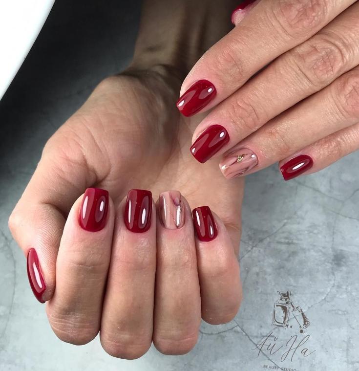 2021 Бордовый маникюр на квадратные ногти
