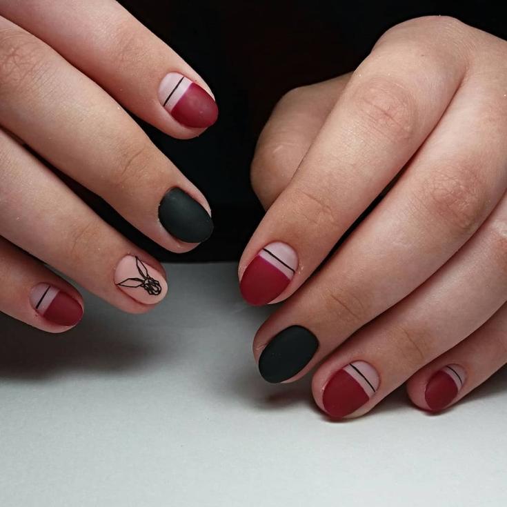 Маникюр лентами на короткие ногти