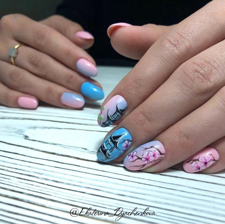 2021 Маникюр голубой с розовым