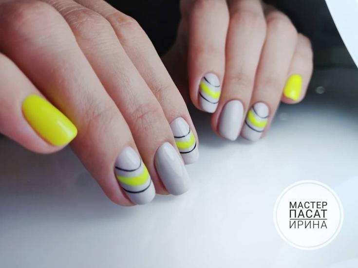 2020 Маникюр жёлтый с серым 32 фото дизайн ногтей