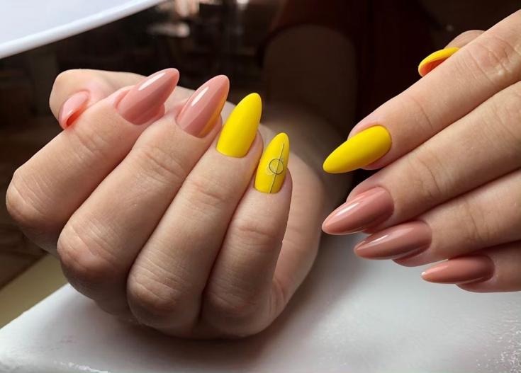 2020 Жёлтый миндальный маникюр 32 фото дизайна ногтей