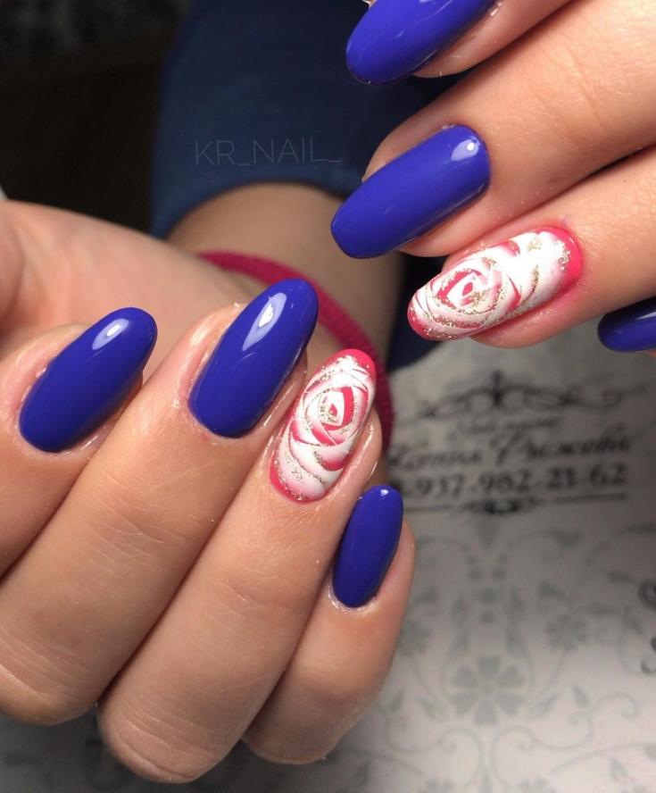 2021 Розовый с синим маникюр