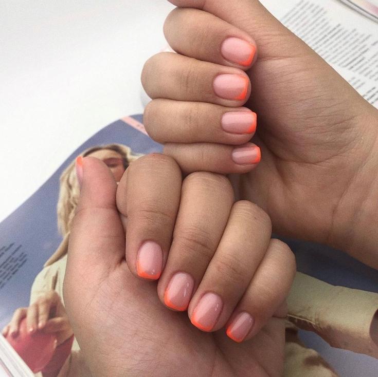 Маникюр оранжевый френч