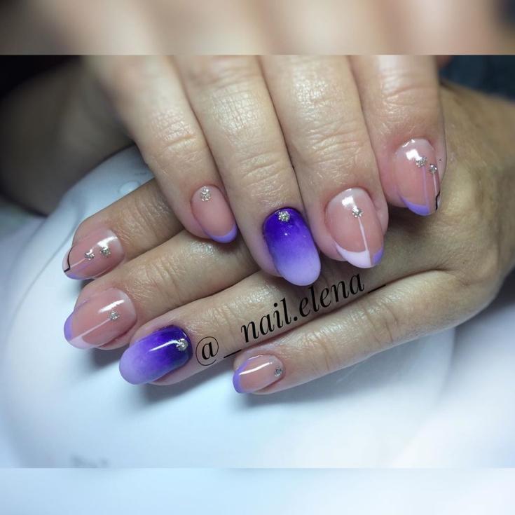 Маникюр фиолетовый френч