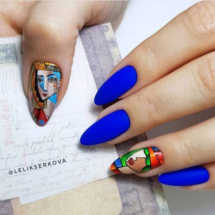 2021 Дизайн ногтей на миндальную форму осень 2021