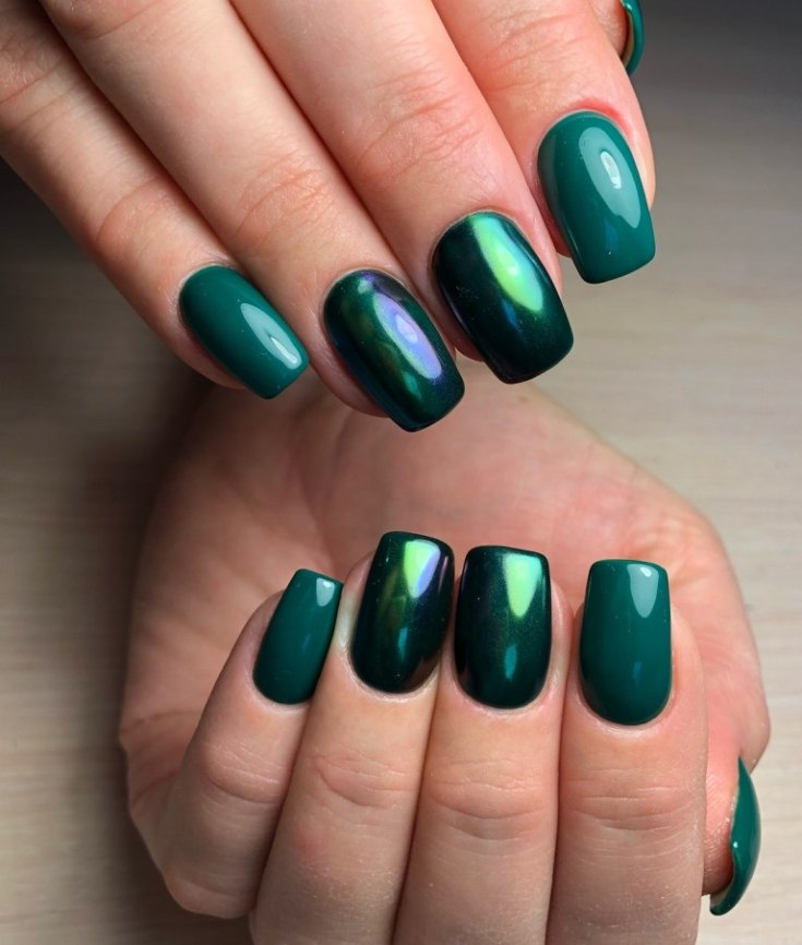 Красивый дизайн ногтей зелёного цвета маникюр в зеленых тонах 240 фото