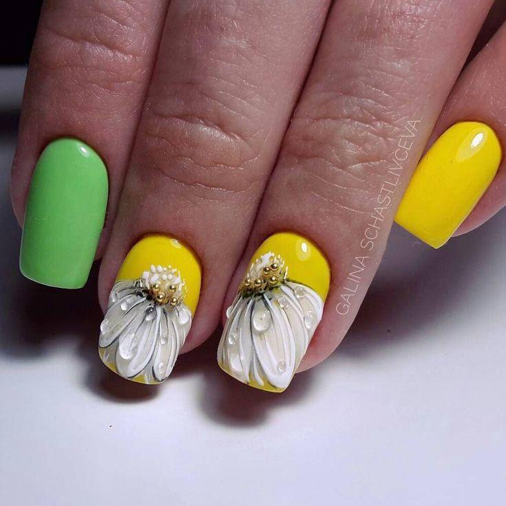 фото ногти с ромашками покрывается