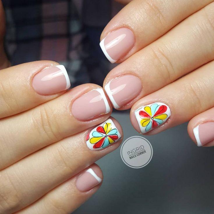 френч на квадратных ногтях