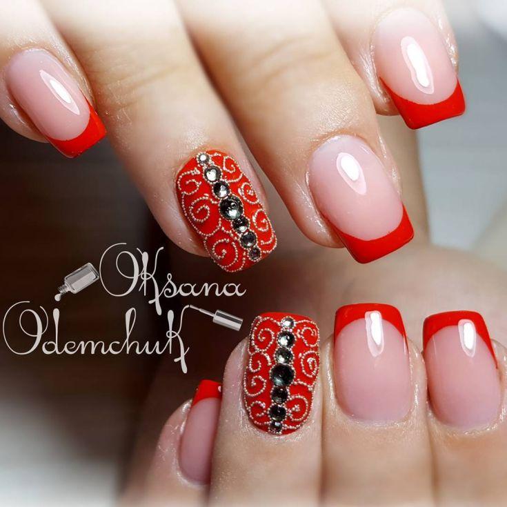 24) Красный френч на ногтях с рисунком и дизайном новинки ...