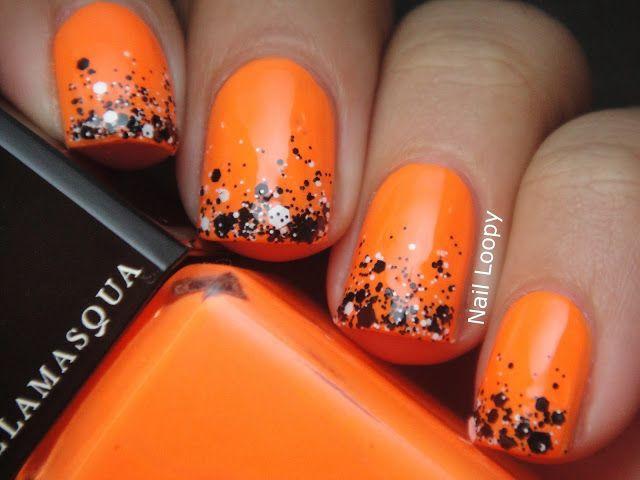 Маникюр черный серый оранжевый
