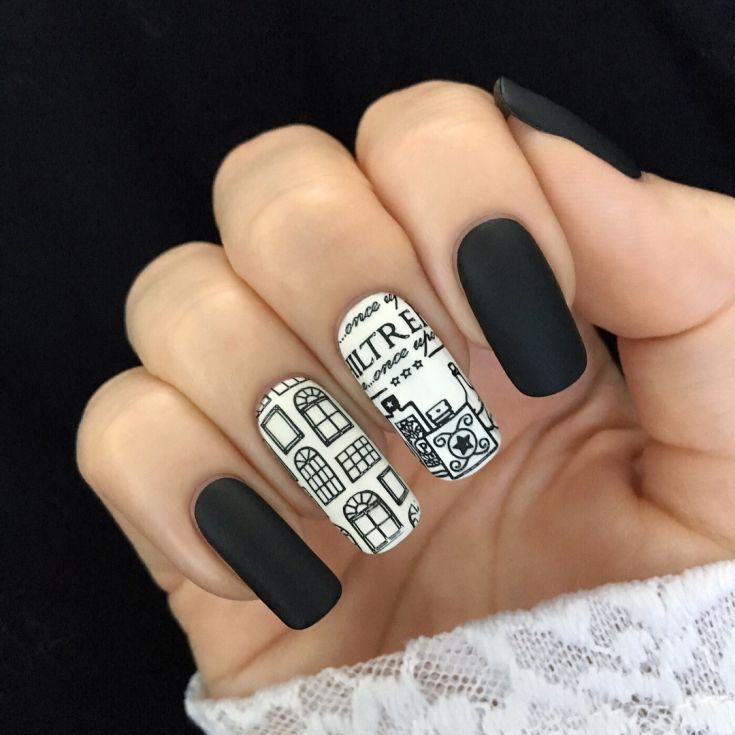 Картинки по запросу черные ногти с кляксами