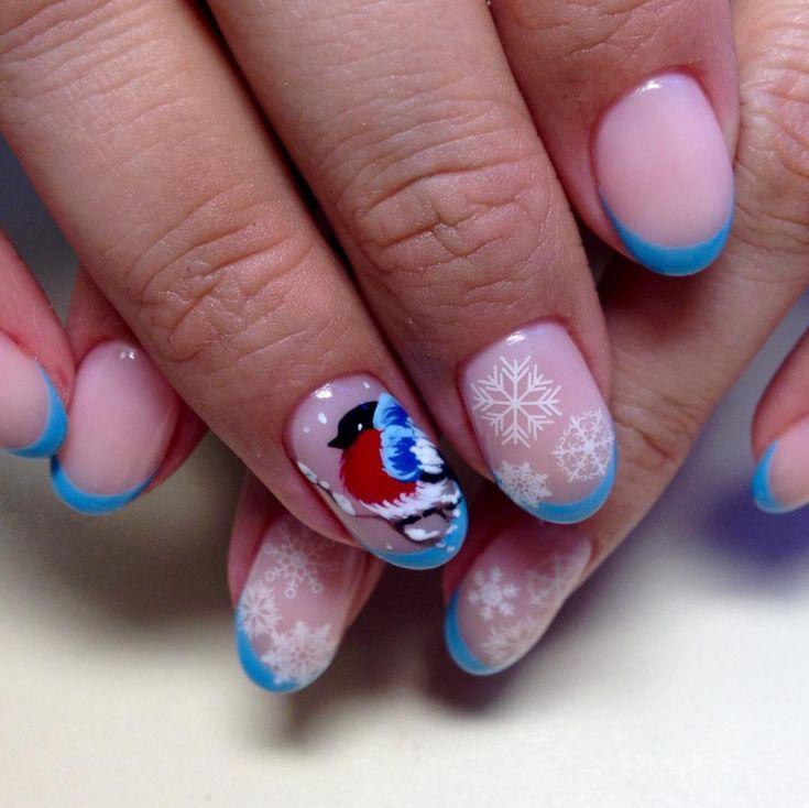 Дизайн ногтей снегири фото