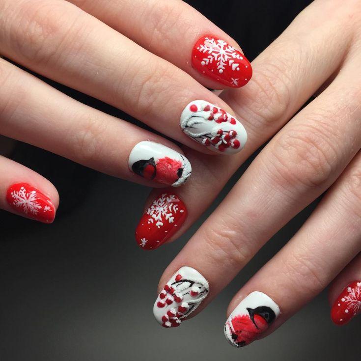 рябина в снегу рисунки на ногтях фото меняя