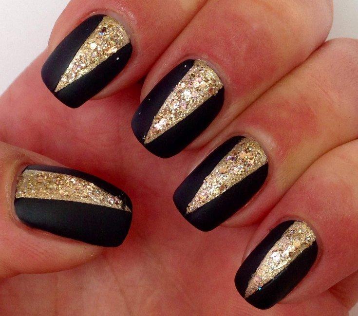 265 фото маникюр черно золотого цвета красивый дизайн ногтей
