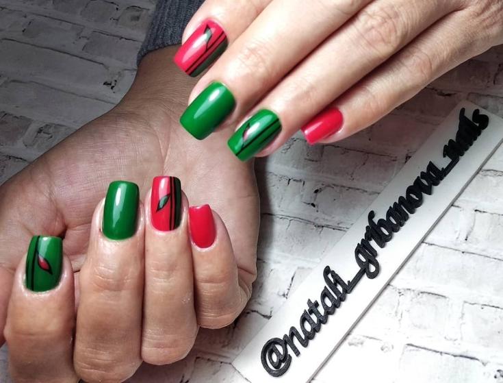 Черно красно зеленый маникюр
