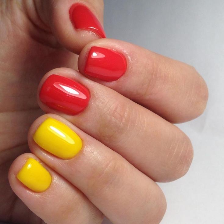 Идеи маникюра красный желтый