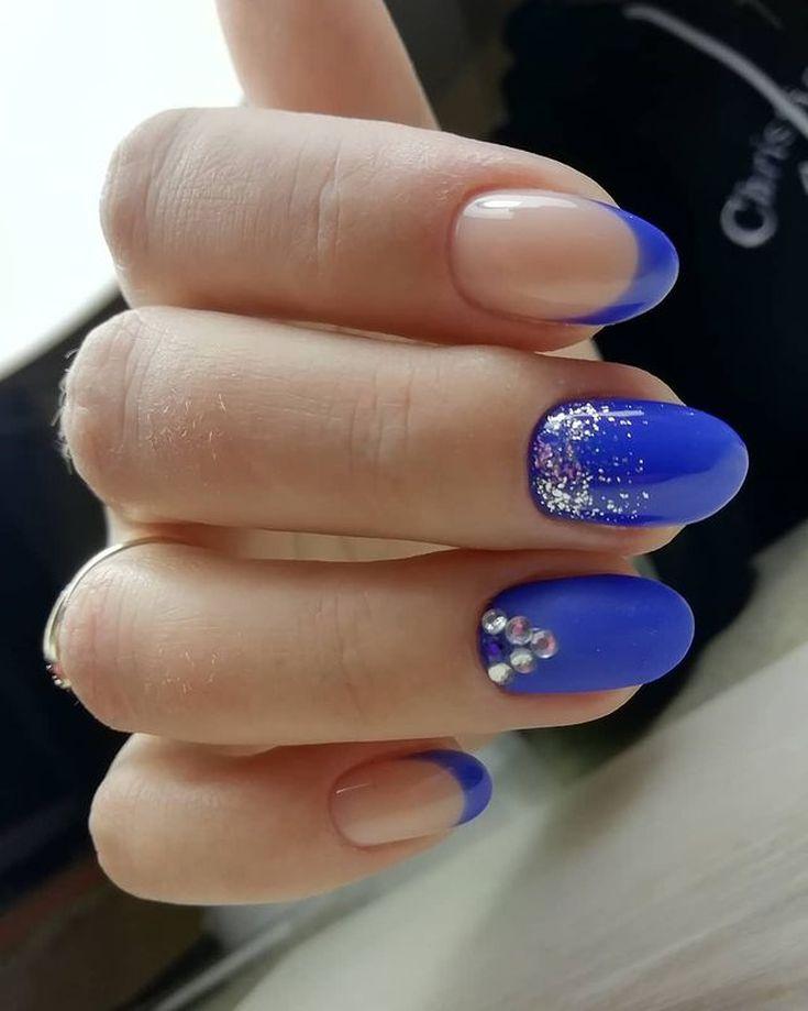 2021 Дизайн ногтей синего цвета фото новинки